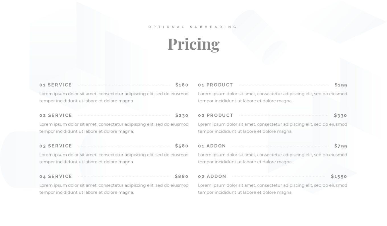Pricing Menu 7