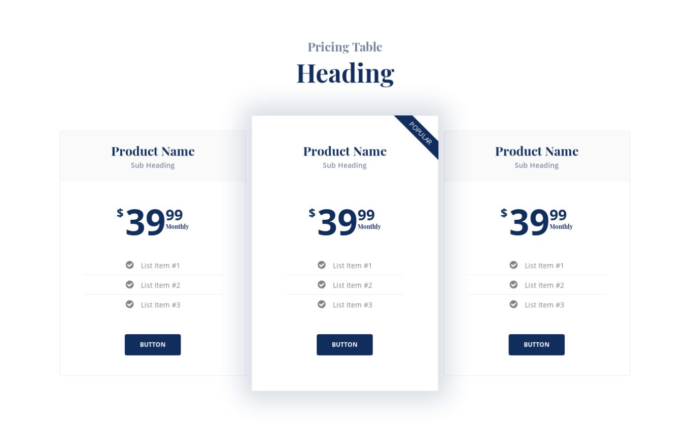 Pricing Table 12