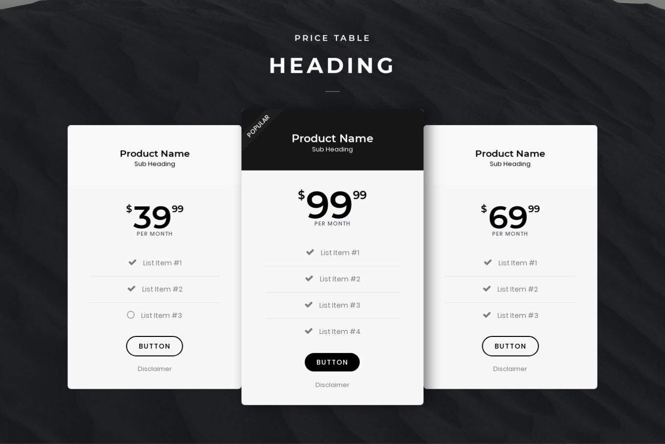 Pricing Table 3