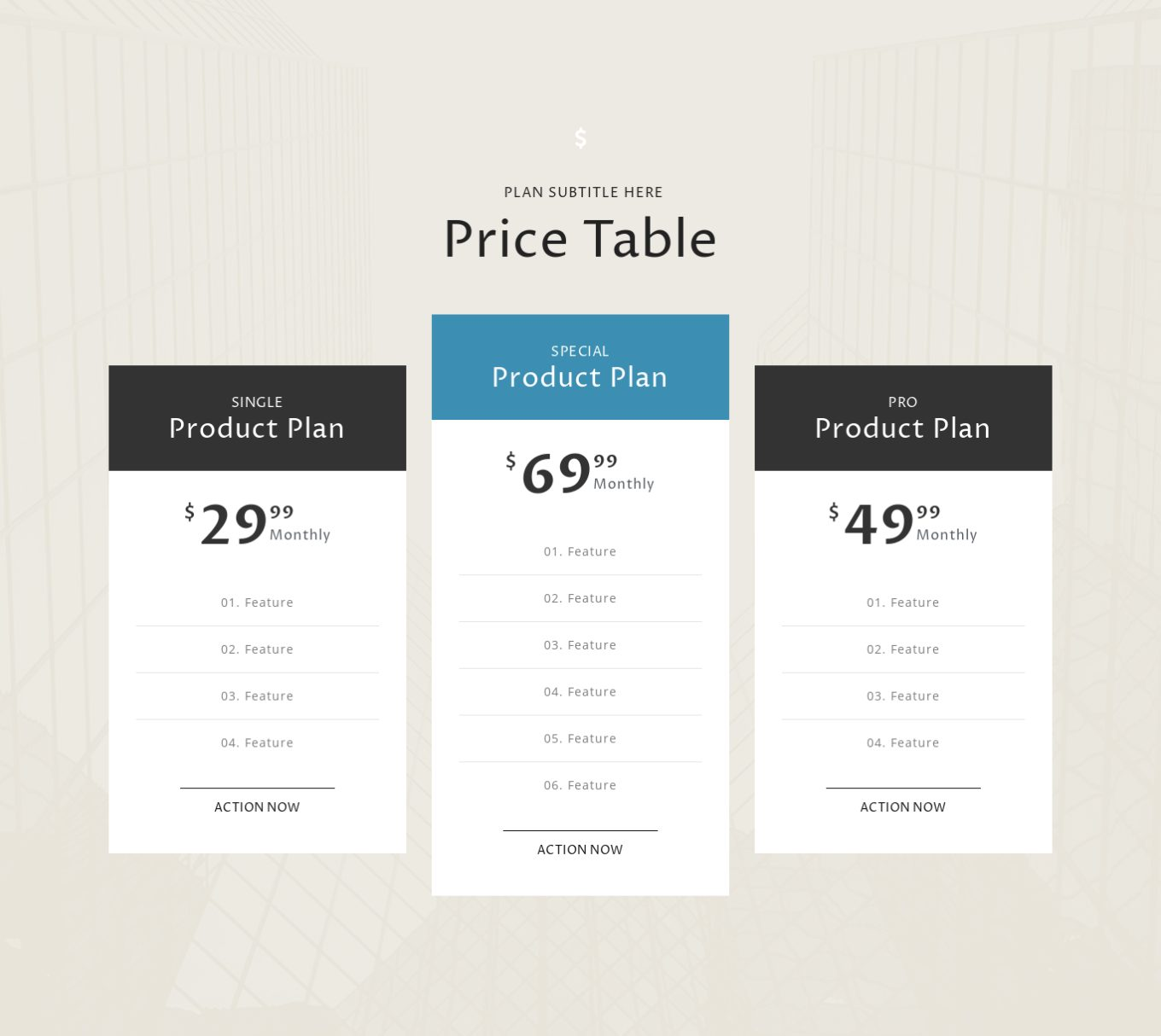 Pricing Table 5