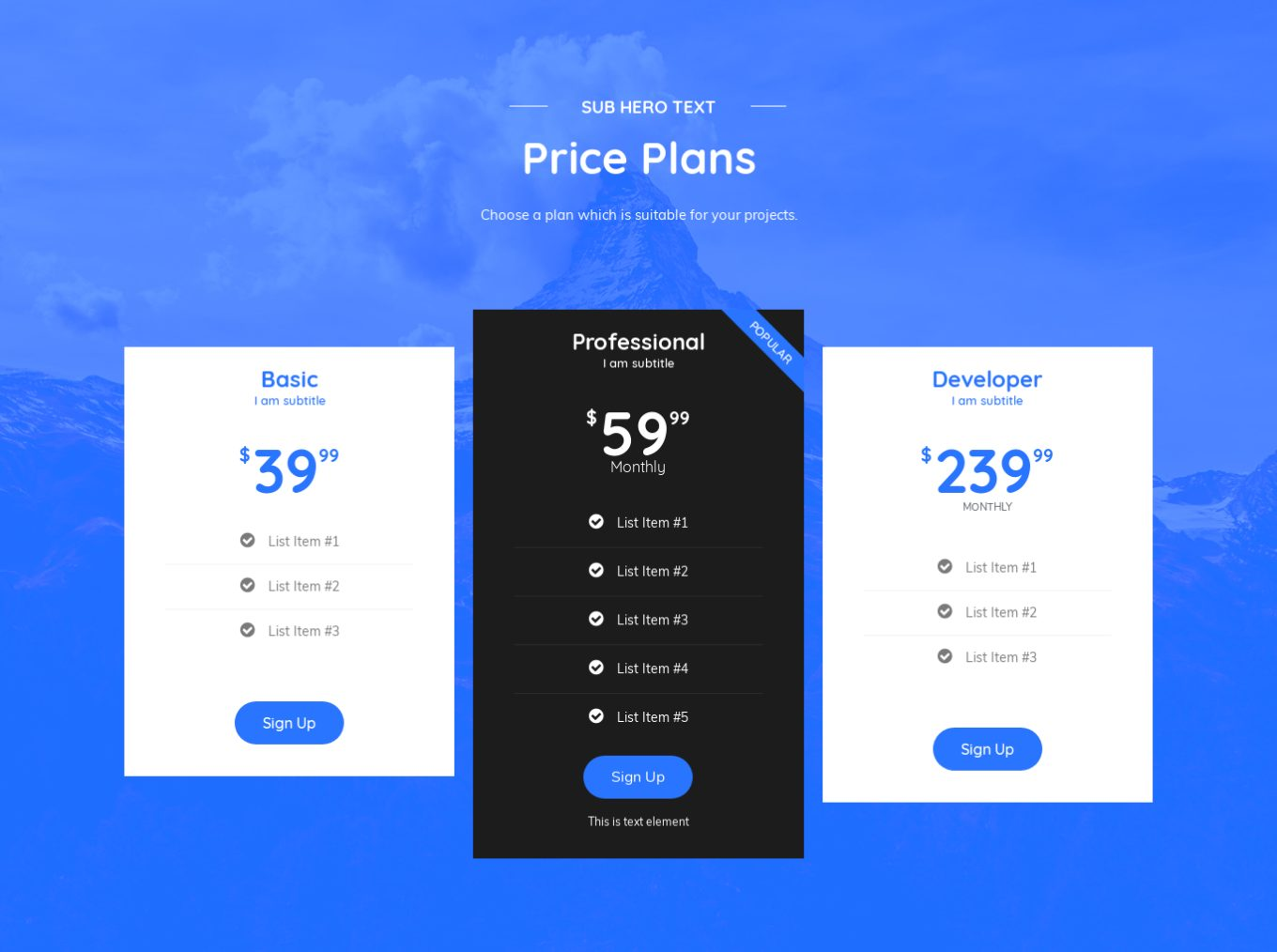 Pricing Table 8